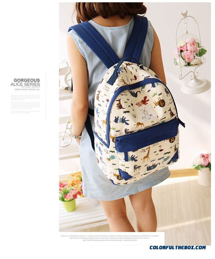 dc5ee86f6fa7 ... Canvas Wearable Backpack Animal Print Travel Backpacks Student Girl  Schoolbags For Women - detail images ...