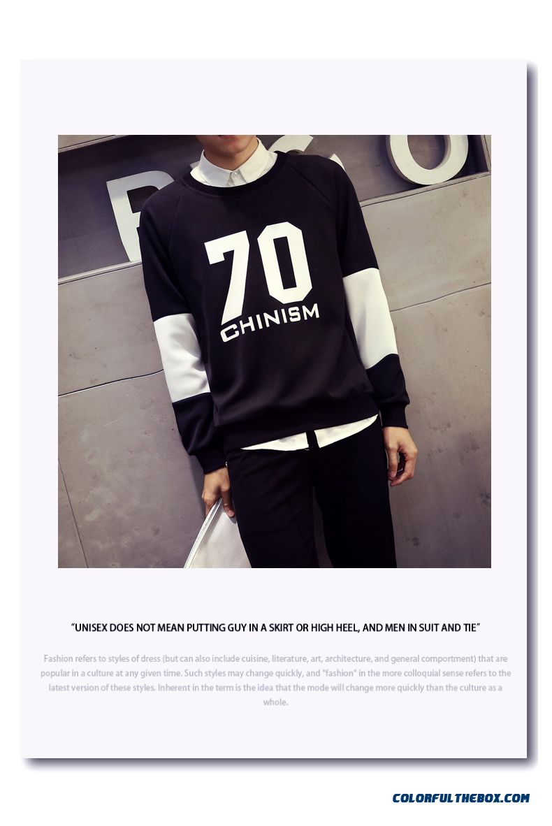 Casual Pullover Round Neck Sweatshirts Loose Large Size Men Sweatshirts - detail images