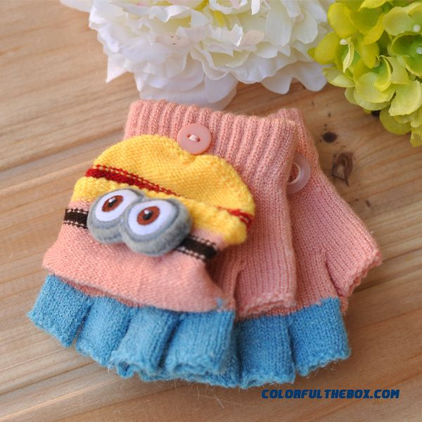 Cheap Closeout Accessories Kids Mittens Cute Little Yellow Doll Boys And Girls Clamshell Fingerless Warm Wool Autumn And Winter Thickening Half Fingers Students Write Gloves - detail images