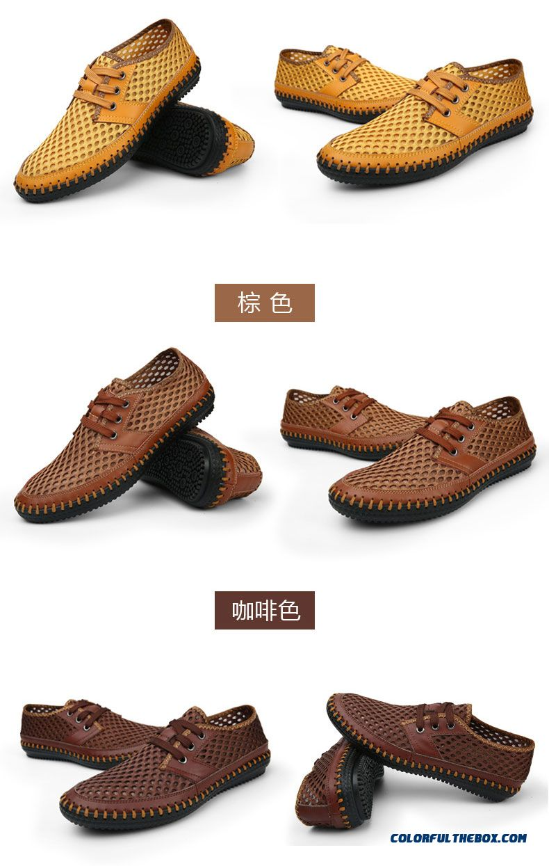 Cheap Men Shoe Genuine Leather Breathable Matching Men Flats Casual Male Mesh Shoes Size 38-46 Top Quality Leather Shoes Man - detail images