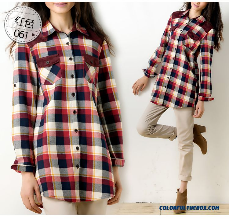 Cheap Wholesale Blouse All-match Brushed Stitching Loose Cotton Medium-long Plaid Shirt - detail images