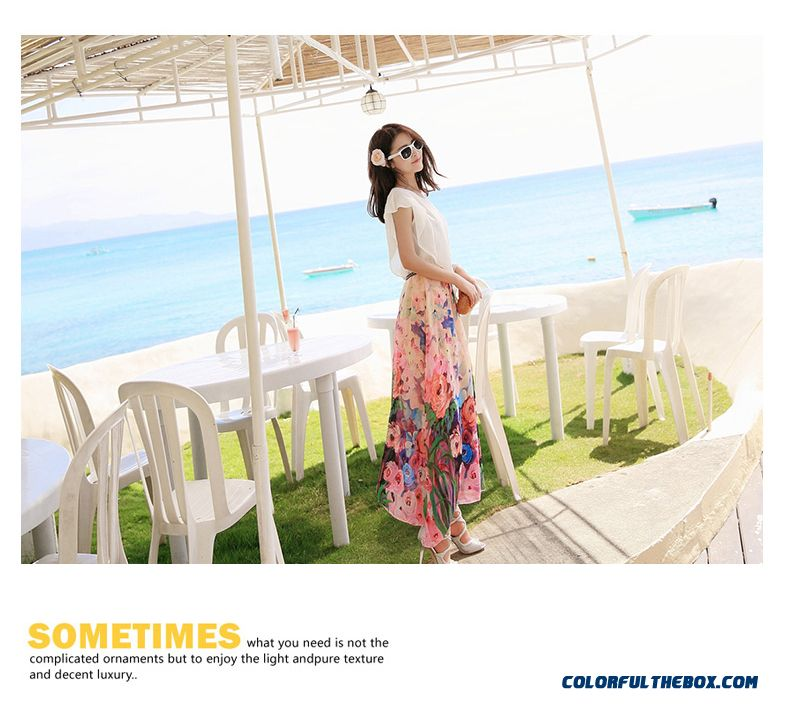 Vintage Child At Sunny Beach With Travel Suitcase Stock: Cheap Chiffon Medium-long Beach Dress Korean Style Summer