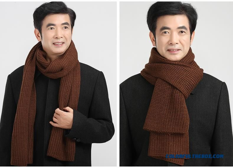 China Supplier Custom Elderly Father Men Warm Pure Color Scarves Accessories - detail images