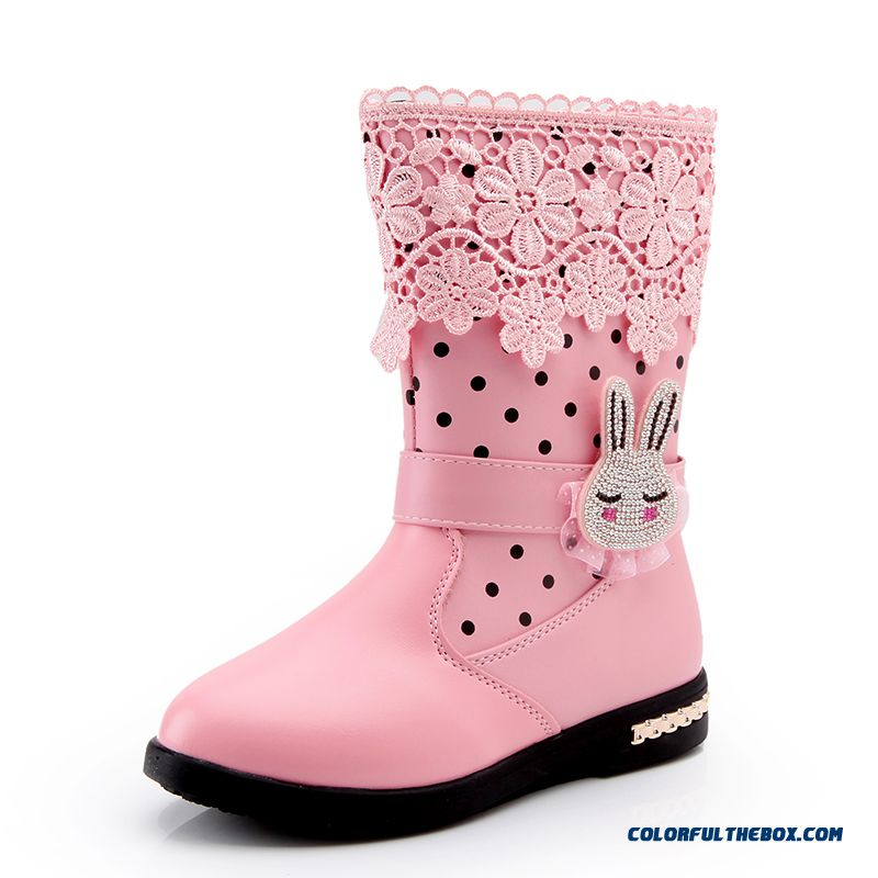 Kids Girls Shoes Half Boots Snow Pink With Lace Detail Images