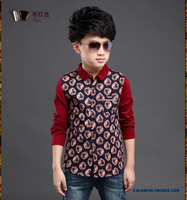 Clothing Designed Exclusively Boys Long-sleeved Shirt Children Spring 2016 Korean Style Blouses - detail images