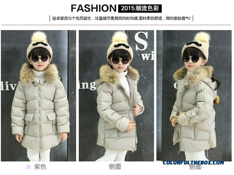 Coat Girl Cotton Big Kids Thicken Hand Plug Down Padded Cotton Grey Pink Clothing With Fur Collar - detail images