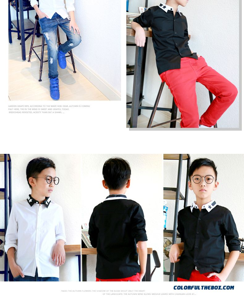 Comfortable Fit Lapel Pentagram Colar Boys Shirt Hot Sale Kids Ckothing Free Shipping - detail images