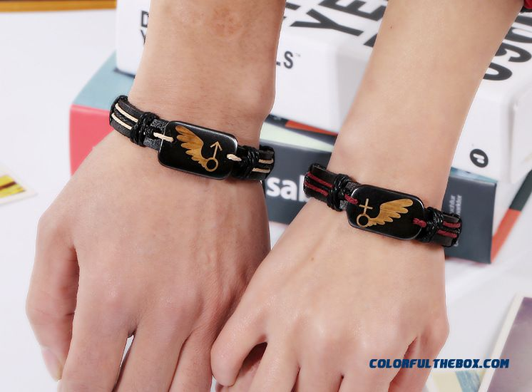 Couples Jewelry Lovers Bone Leather Bracelet Valentines Braid Bracelet Women - detail images