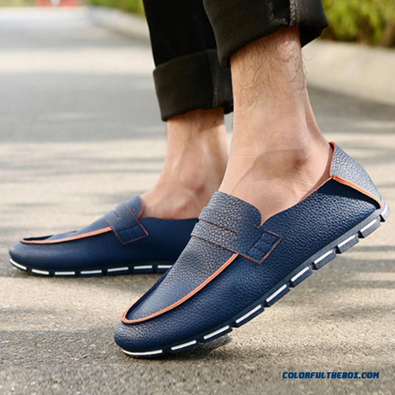 Discount Fashion Loafers Men's Flats Shoes Soft Leather Spring Summer New Adult Casual Shoes Man Simple Style - detail images