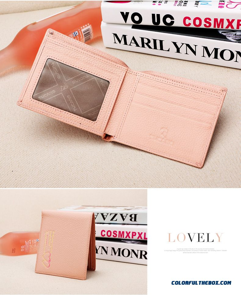 Double Love Pattern New Short Women Wallet Genuine Leather Small Purse Thin Section Vogue Bags - detail images