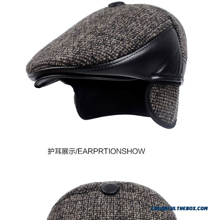 313cac804319b ... Elderly Father Hat Outdoor Autumn And Winter Warm Woolen Ear Protected  Peaked Cap Men s Accessories -