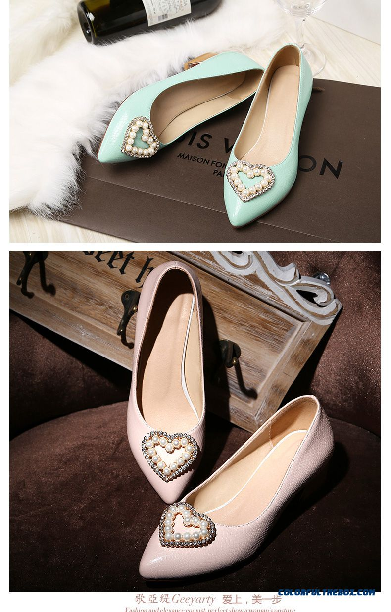 Elegant Middle-heels Square Heel Pointed Heart-shaped Pearl Decoration Shallow Mouth Women Pumps - detail images