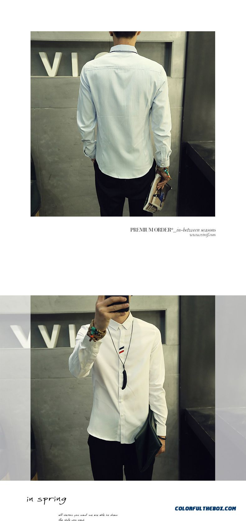 England Style Autumn And Winter Men's Casual Long-sleeved Shirt Slim Solid Color - detail images