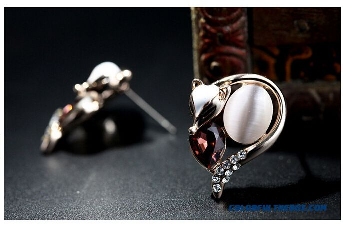 European And American Jewelry Crystal Charm Fox Earrings Austria Crystal Women Earring - detail images