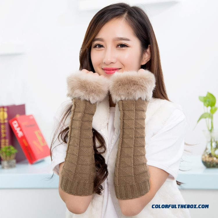 Fabulous Autumn Winter Women Favorite Gloves Knitting Wool Half-finger Long Armband Sleeves Accessories - detail images