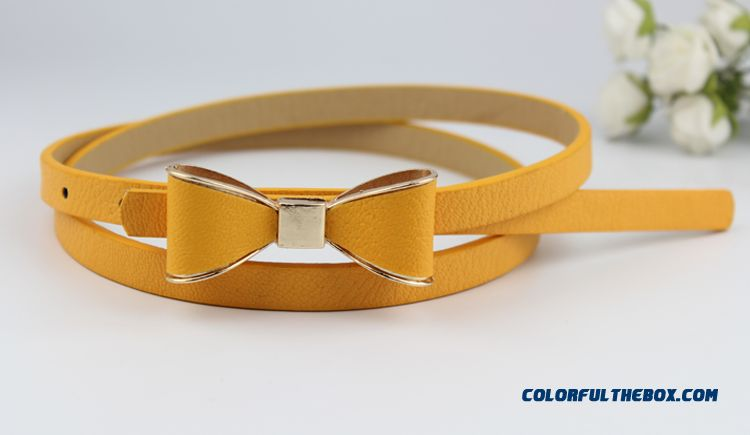 Factory Outlet All-match Bowknot Candy Color Thin Belt Ladies Cummerbuns Women Accessories Hot - detail images