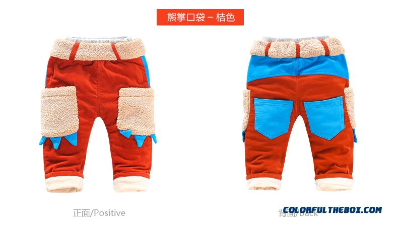 Factory Outlets Singbail Winter Plus Thick Velvet Baby Keep Warm Boys Pants - detail images