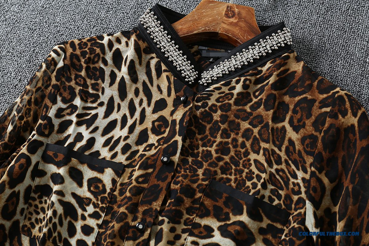 Factory Wholesale European Stations Women Fashion Beaded Leopard Shirt - detail images