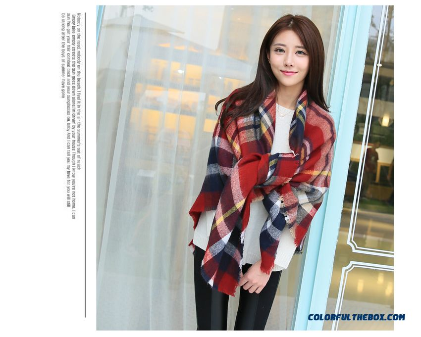 Fall And Winter Super Long Style Thick Plaid Shawl Women Dual-purpose About The Neck About The Neck - detail images