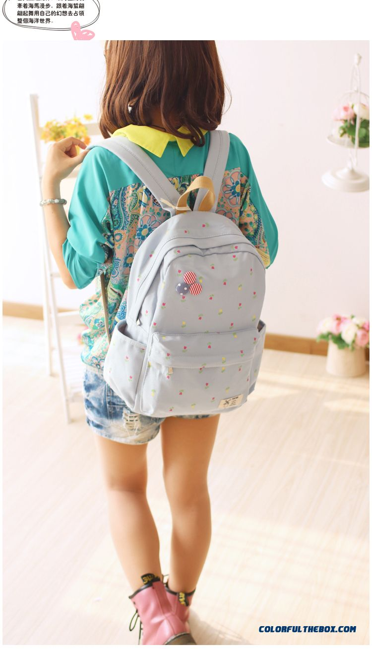 Cheap Fashion Canvas Backpack Girl Junior High School