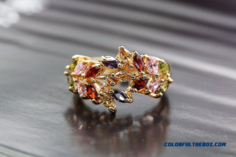 Fashion Olive Branch Color Zircon Ring Fashion Trend Of Women's Ring Rose Gold Plated Zircon Rings Jewelry - detail images