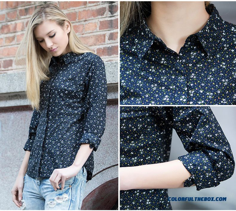 Cheap fashion printed shirts slim polo collar ladies navy for Navy blue shirt online