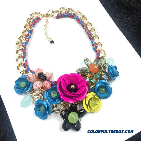 Fashion Women Exaggeration Purple Flowers Diamond Short Clavicle Chain Fine Jewelry - detail images
