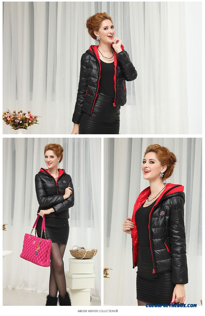 Fashionable Design Winter New Women's Hooded Coats Casual Short Slim Red Bright - detail images
