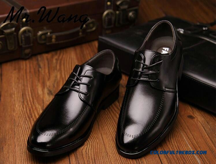 Cheap Flat Shoes Men Pointed Toe Fashion Black Dress Shoes Mens