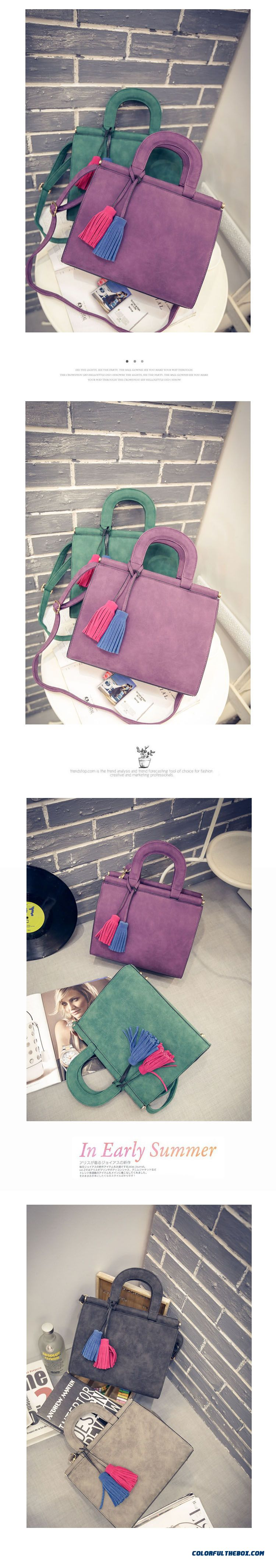 Free Shipping New Nubuck Women Bags Two-color Hit Colaor Tassel Pendant Casual Shoulder Bags - detail images