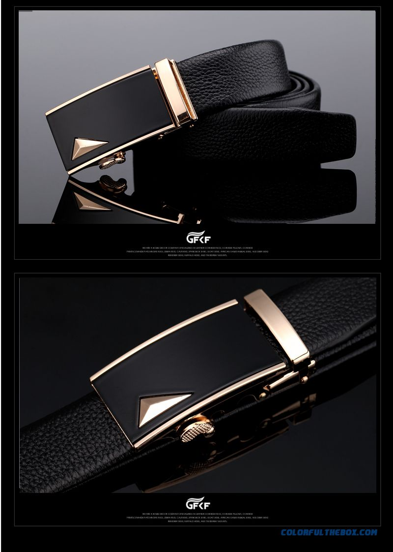 Genuine Product Successful Men Choose Accessories Leather Cowhide Leisure Automatic Buckle Belt - detail images