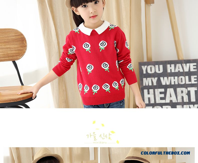 Girls' Pullover All-match Kids Bottoming Shirt Winter Big Kids Clothing Sweater Coat Pattern Lollipops - detail images