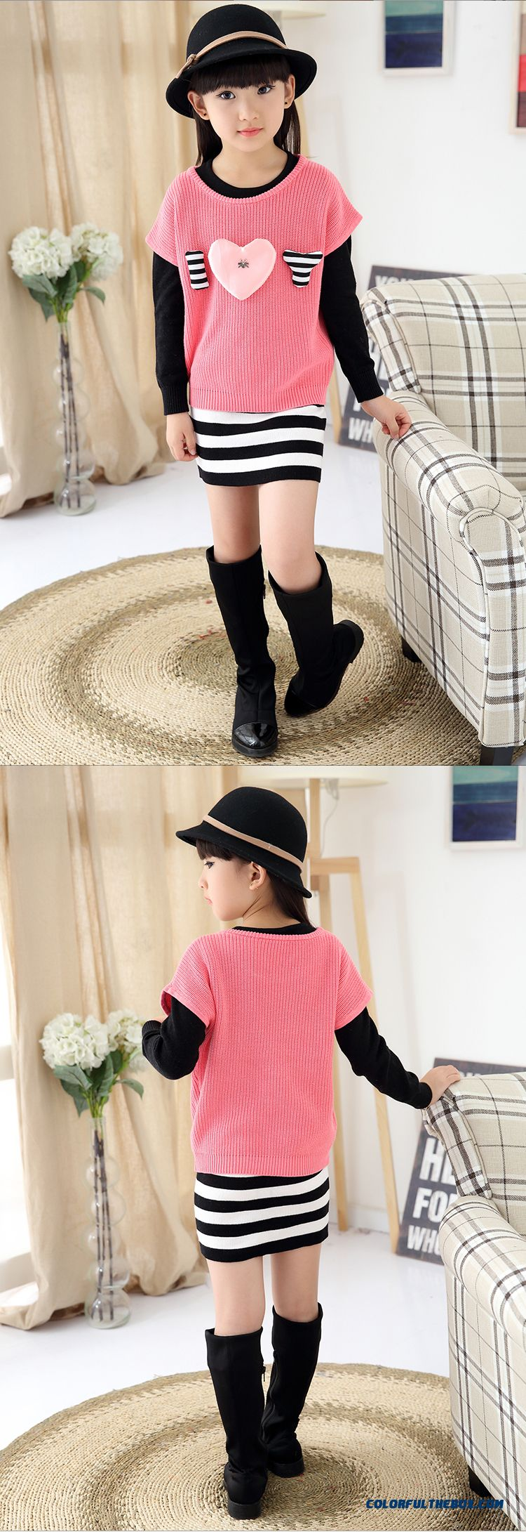 Girls Spring New Fake Two-piece Dress Lady Sweater Dress Medium-long Design For Kids - detail images