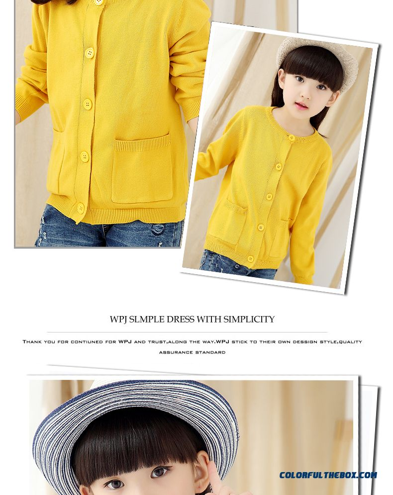 Girls Sweater Cardigan Sweater Jacket All-match Kids Clothing Kids Pure Color Low Price - detail images