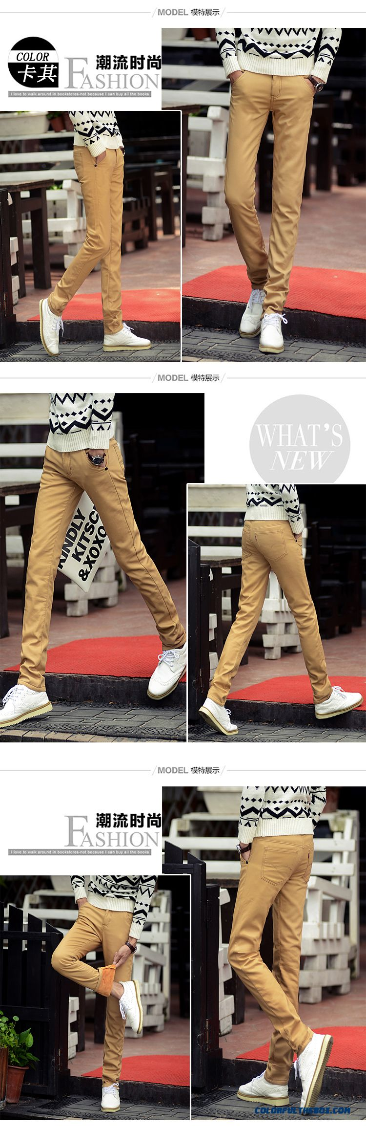 Gold Plus Velvet Winter Men's Casual Long Pants Slim Straight Cotton Clothing - detail images