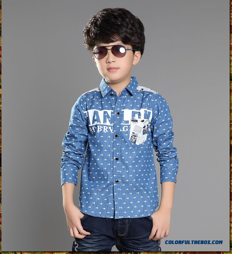 Handsome Boys Favorite Blouse & Shirt Blue Long Sleeves Laple Kids' Clothing On Sale - detail images