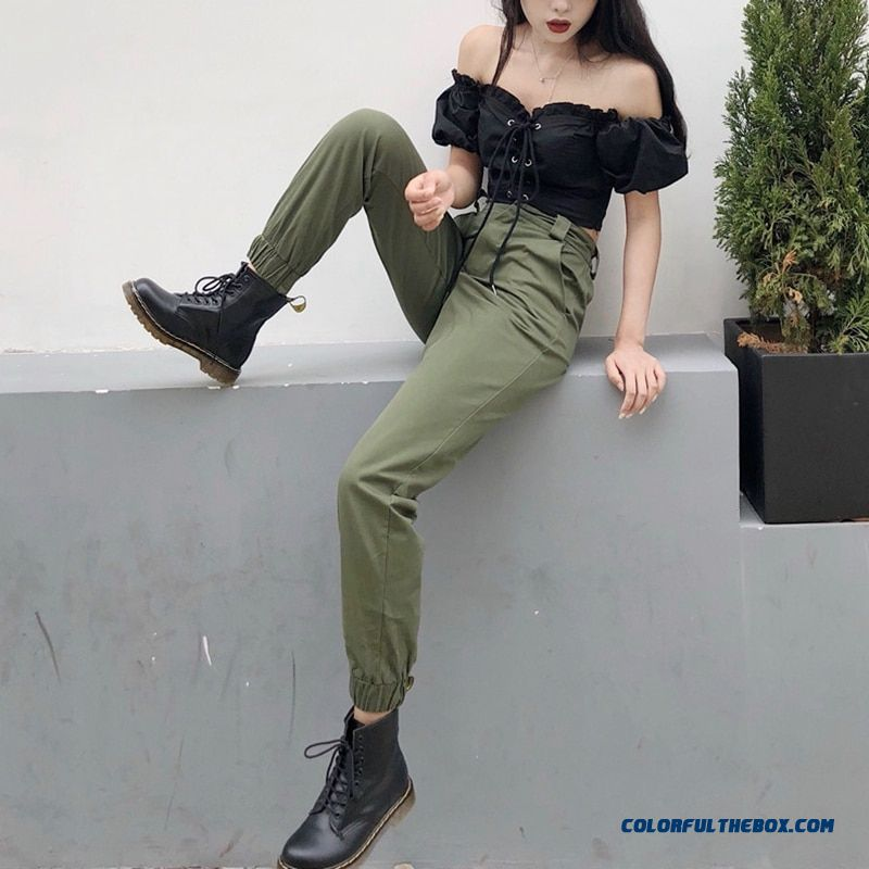 High Waist Camo Black Pants Joggers Women Capris Chain Cargo Pants Trousers Women Camouflage Korean Fashion - detail images