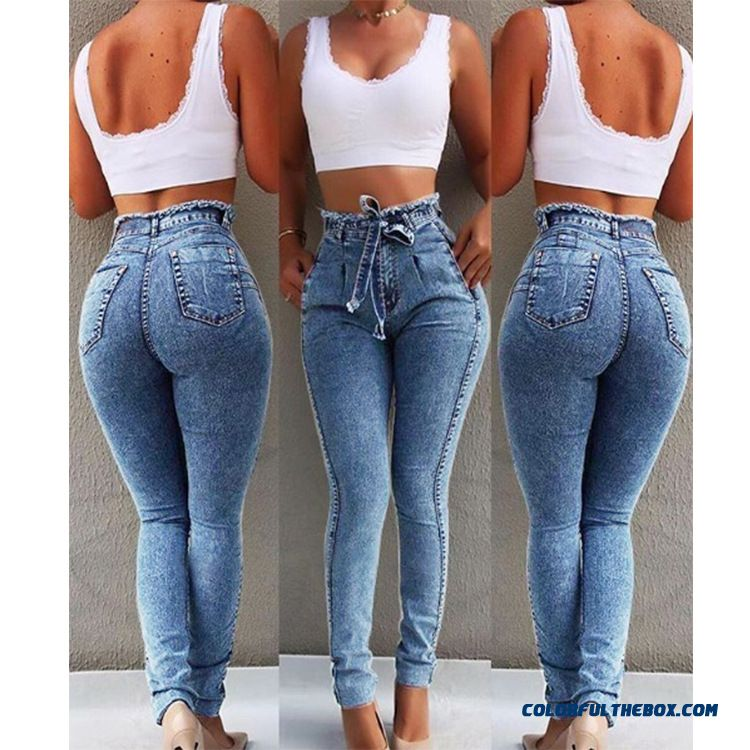 High Waist Jeans For Women Slim Stretch Denim Jean Bodycon Tassel Belt Bandage Skinny Push Up Jeans Woman - detail images