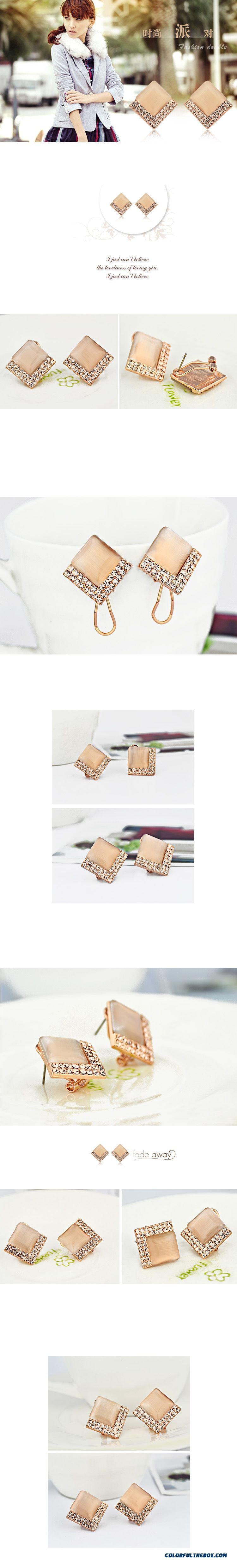 High-grade Prevent Allergy Simple Square Fine Jewelry Women Fashion Earrings - detail images