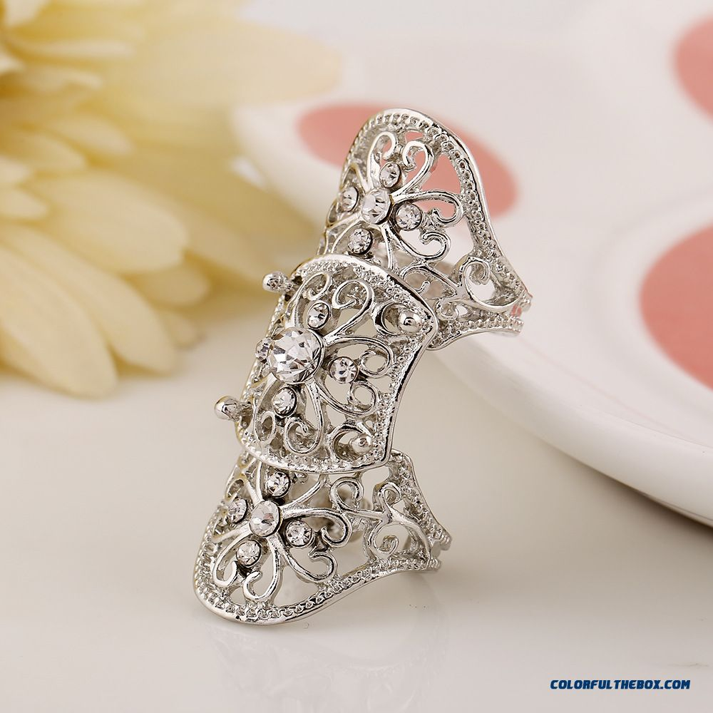 Hot Jewelry Personality Exaggerated Hollow Diamond Flowers Joint Women Ring New - detail images