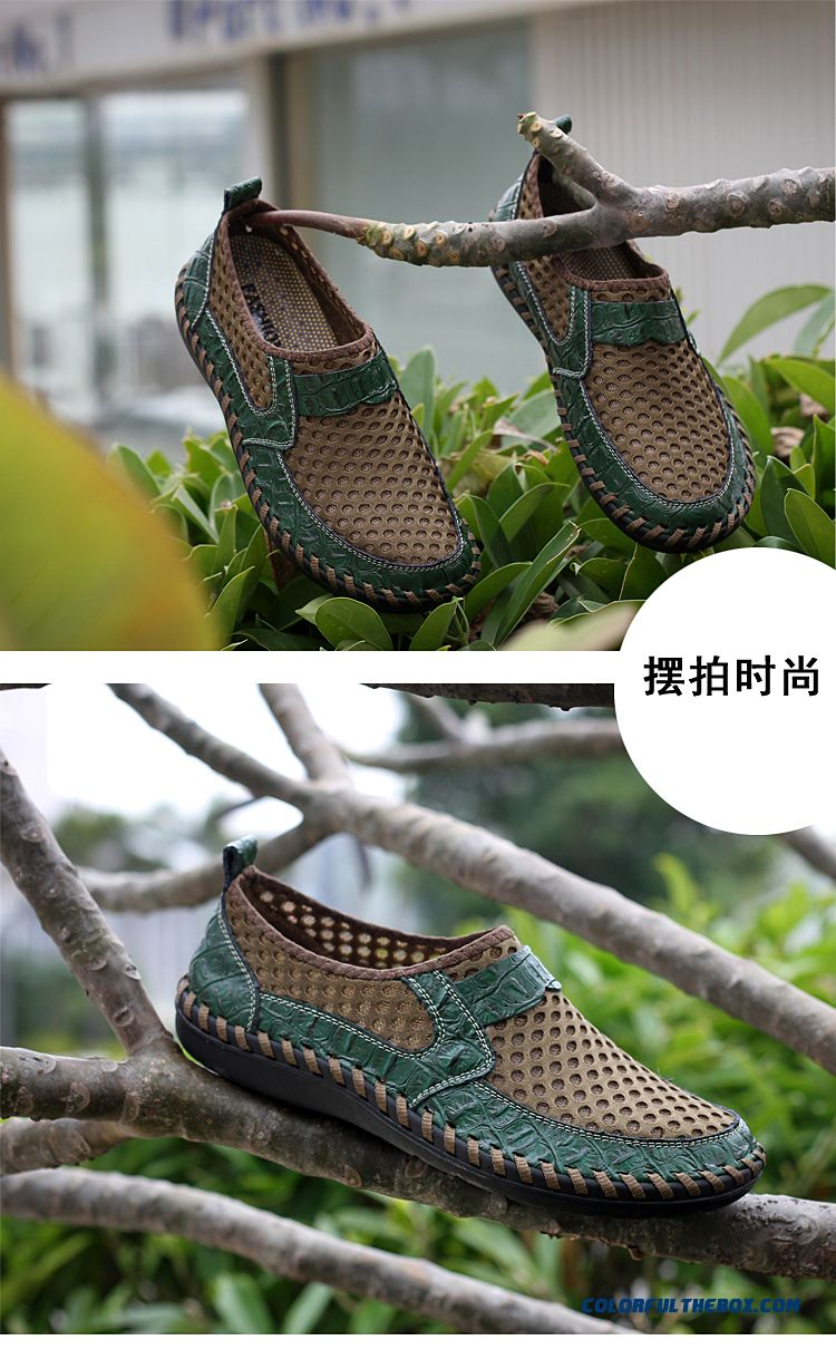 Hot Men Shoes Genuine Leather Shoes Breathable Matching Men Flats Casual Male Summer Mesh Shoes Cheap Flat Shoes - detail images