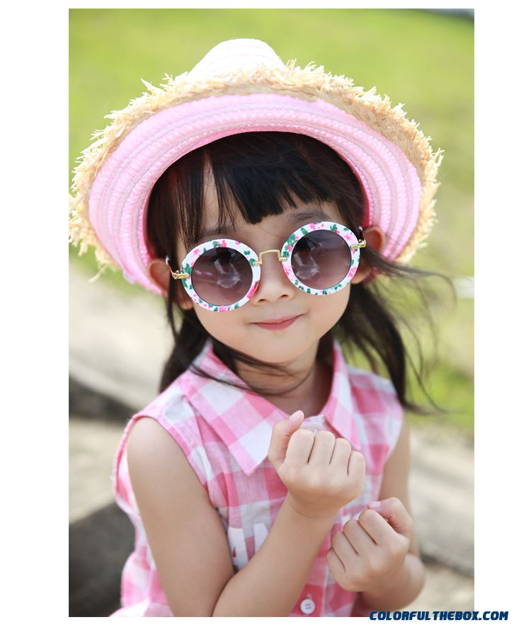 Kids Dark Glasses Kids Round Sunglasses Polarizer Fashionable Boys Retro Goggles Pink Black Accessories - detail images
