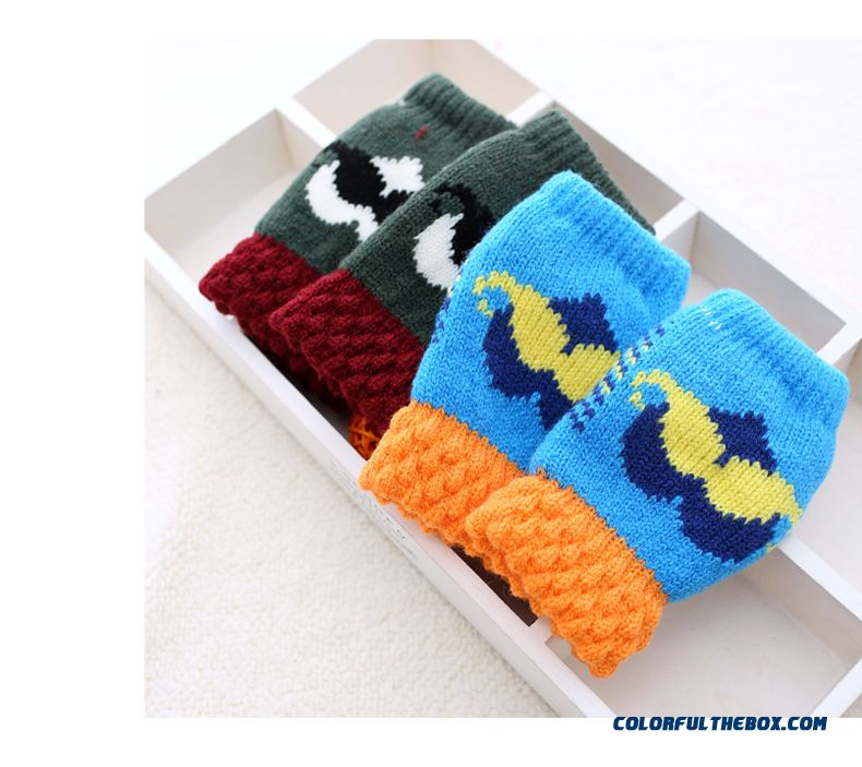 Kids Half-finger Gloves Winter Gloves Shall Cute Boys And Girls Winter Thick Wool Mittens Baby Winter Gloves - detail images