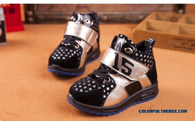 Kids Shoes Plus Velvet Shoes Older Kids Sports Shoes Basketball Shoes Winter - detail images