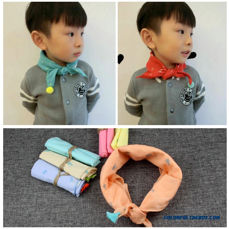 Kids Triangle Scarves Accessories Babies Cotton And Linen Small Kerchiefs Design For Under 6 Years Old Boys - detail images