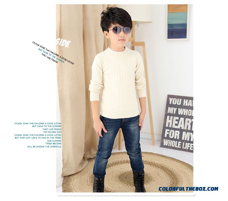 Kids Weater Boy Pullover Sweater Wool Cashmere Knit Bottoming Shirt Long Sleeve Warm Clothing - detail images
