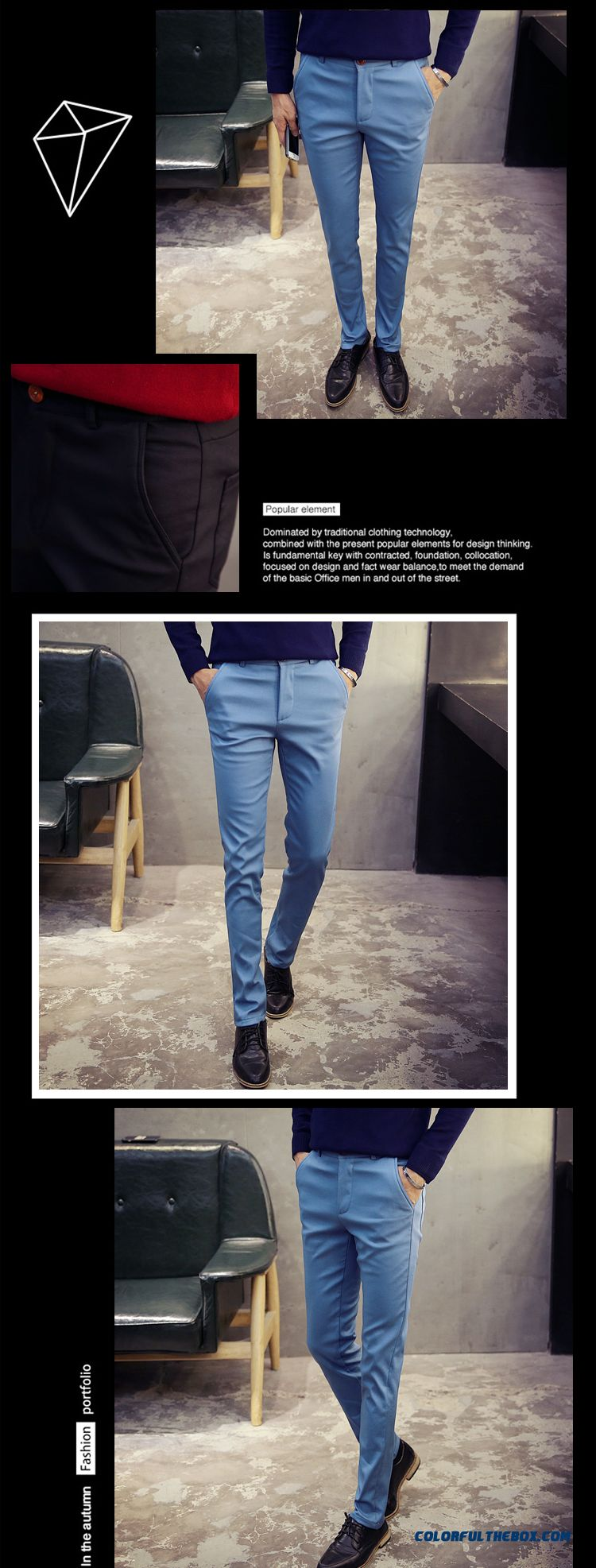 Korean Version Of Men's Casual Cotton Slim Straight New Winter Clothing Pants - detail images