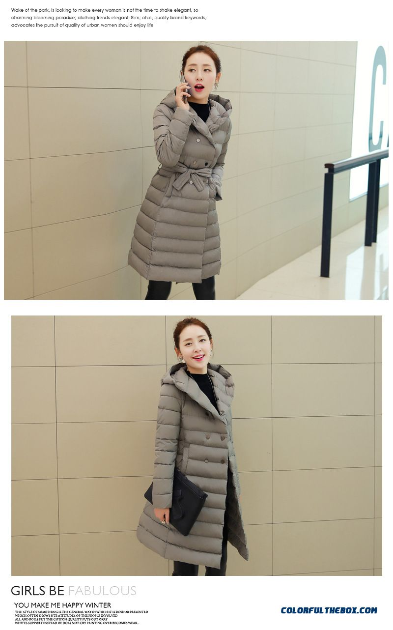 Cheap Ladies Padded Coat Girls Long Korean Slim Hooded Cotton