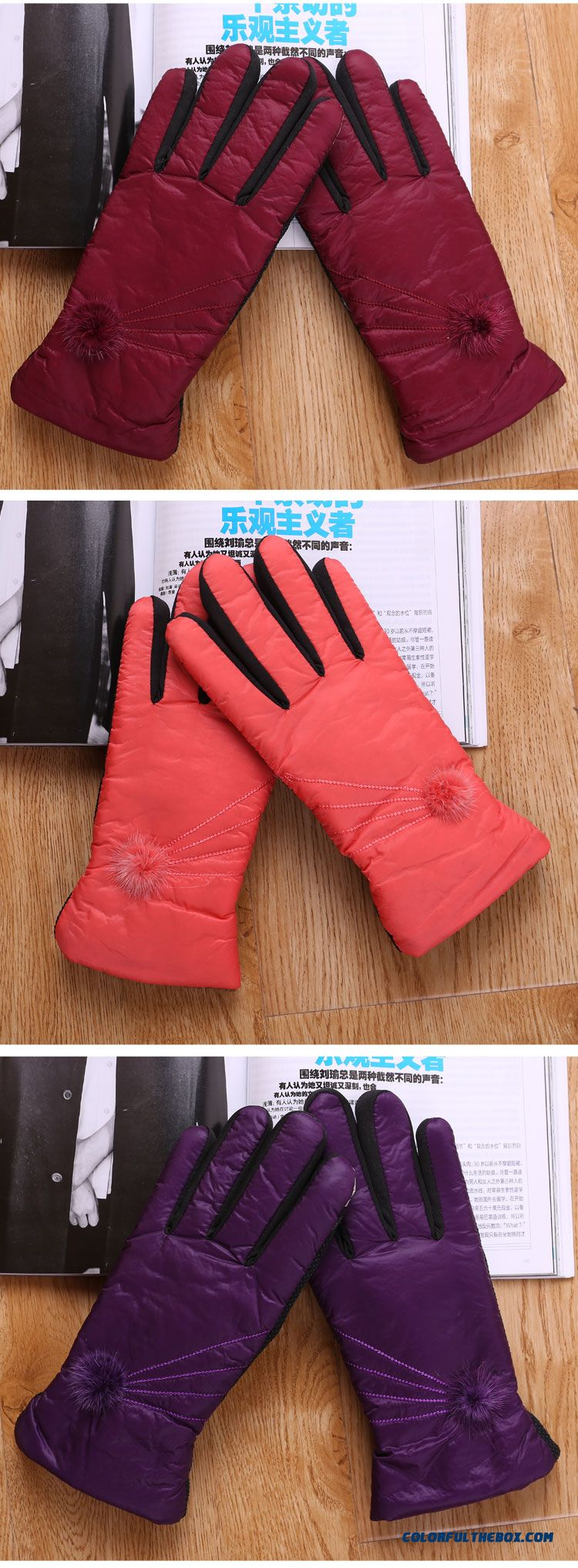 Lady Free Shipping Women Hairball Warm Winter Riding Cotton Gloves & Mittens Accessories - detail images
