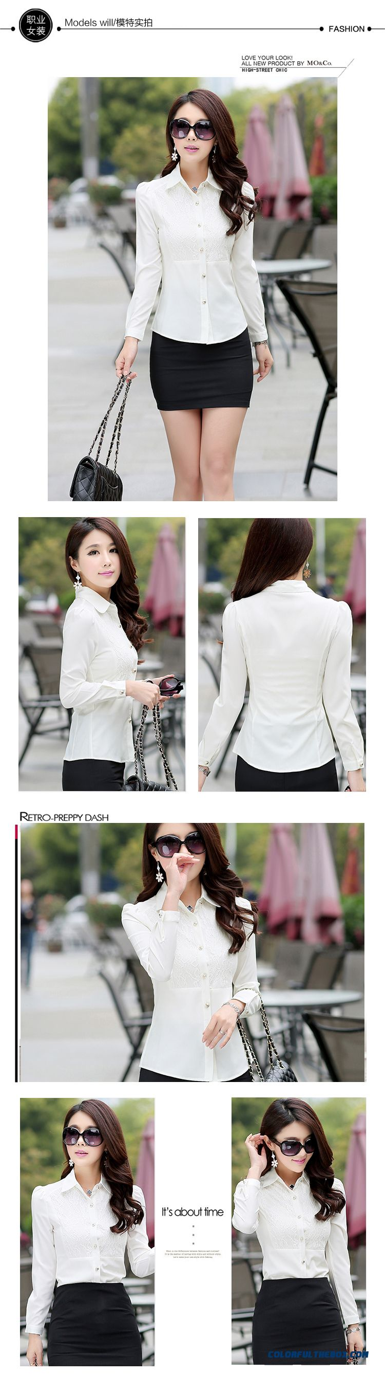 Lady Women Occupational Ol Temperament Stylish Shirts Tooling Casual Shirt Bottoming Shirt Europe Fashion Srtyle Design - detail images